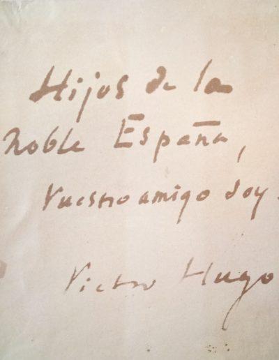 Dedicatoria de Víctor Hugo